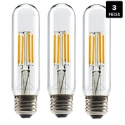 China Leadleds 4W Tubular LED Bulb Edison Style COB LED Filament Bulb T10, Non Dimmable E26 Medium Base Lamp 40 Watt Incandescent Bulb Equivalent 2700K Neat Warm White, 3-Pack factory