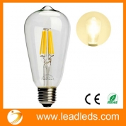 China Leadleds 6W Edison Style Vintage LED Filament Light Bulb, 2700k Soft White 610LM Non-dimmable, E27 Medium Base Bulb, ST21(ST64) Antique Shape, 60W Incandescent Equivalent (UPC: 701948981269) factory