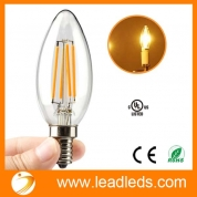 China Leadleds E12 4 Watt LED Filament Candelabra Light Bulbs, 40W Incandescent Replacement, Warm White 2700K Chandelier Torpedo Tip 110V AC factory